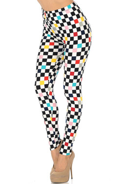 Buttery Soft Color Accent Checkered Leggings
