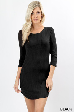 3/4 Sleeve Round Hem Ribbed Dress