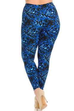 Buttery Soft Electric Blue Music Note Plus Size Leggings