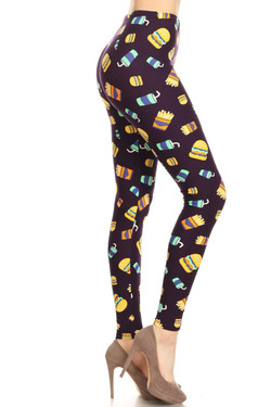 Buttery Soft Fast Food Plus Size Leggings - 3X-5X