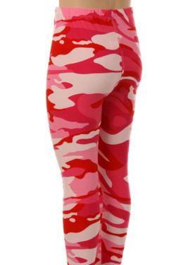 Buttery Soft Pink Camouflage Kids Leggings - EEVEE