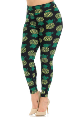 Buttery Soft Green Pineapple High Waisted Plus Size Leggings - EEVEE