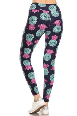 Buttery Soft Teal Pineapple High Waisted Leggings - EEVEE
