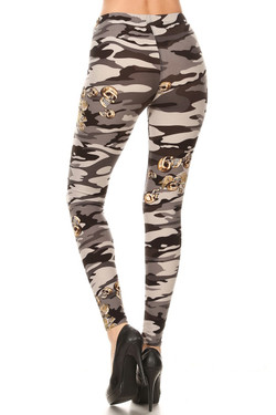 Buttery Soft Charcoal Skull Camouflage Leggings
