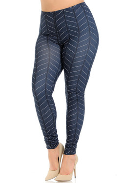 Creamy Soft Vertical Swirl Plus Size Leggings - Signature Collection