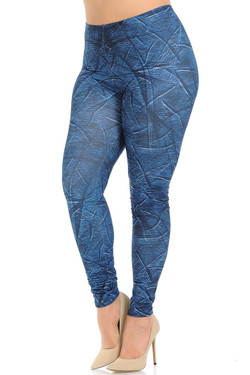 Creamy Soft Wrinkled Denim Plus Size Leggings - Signature Collection
