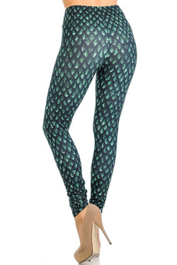 Creamy Soft Green Dragon Scale Leggings - Signature Collection