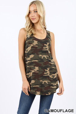 Round Neck and Hem Camouflage Tank Top