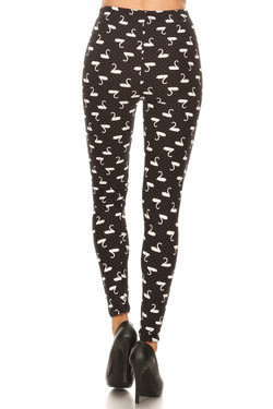 Buttery Soft Polka Dot Swan Plus Size Leggings - 3X-5X