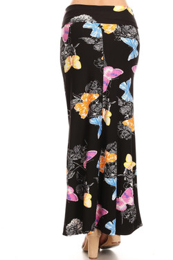 Back image of Buttery Soft Beautiful Butterfly Maxi Skirt