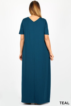 V-Neck Short Sleeve Rayon Plus Size Maxi Dress with Pockets