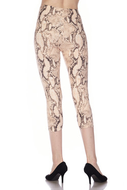 Buttery Soft Cream Snakeskin Plus Size Capris