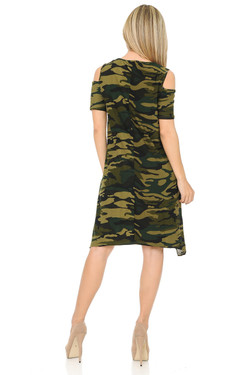 Buttery Soft Cold Shoulder Camouflage Shift Dress