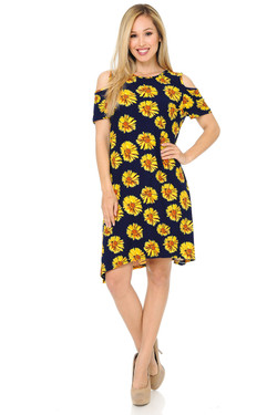 Buttery Soft Cold Shoulder Summer Daisy Shift Dress