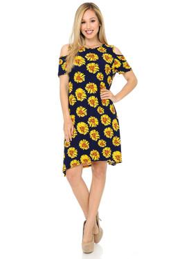 Buttery Soft Cold Shoulder Summer Daisy Shift Dress