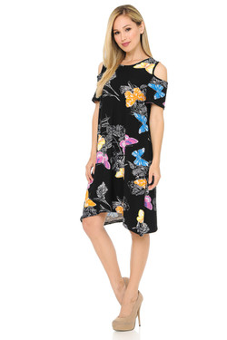 Buttery Soft Cold Shoulder Beautiful Butterfly Shift Dress