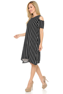 Buttery Soft Cold Shoulder Black PinStripe Shift Dress