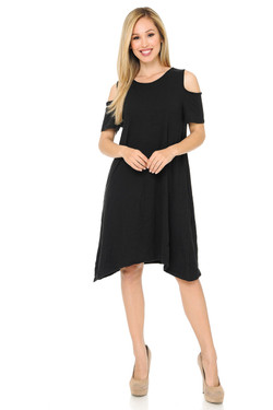 Buttery Soft Cold Shoulder Basic Black Shift Dress