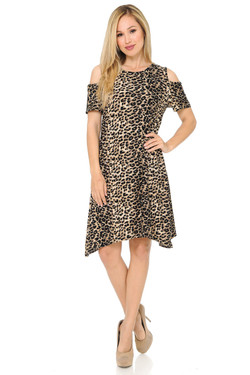 Buttery Soft Cold Shoulder Feral Cheetah Shift Dress