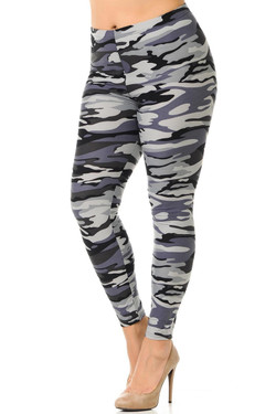 Buttery Soft Monochrome Camouflage Plus Size Leggings - 3X-5X