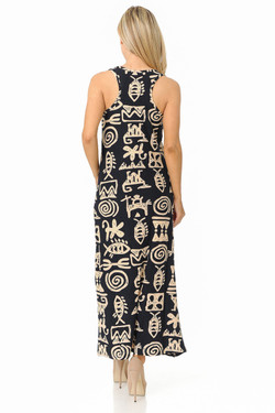 Buttery Soft Elegant Tribal Symbols Maxi Dress - EEVEE