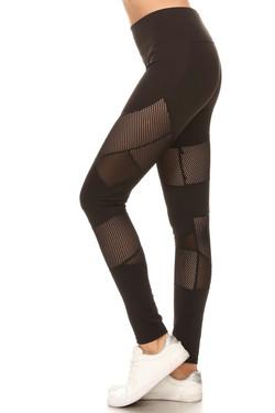 Multi Panel Mesh Black Workout Leggings