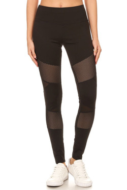 Multi Panel Mesh Black Workout Leggings