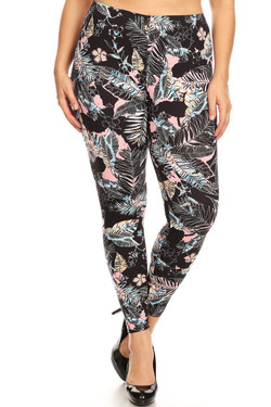 Buttery Soft Pink Floral Tropics Plus Size Leggings