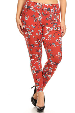 Buttery Soft Ruby Red Spring Floral Plus Size Leggings