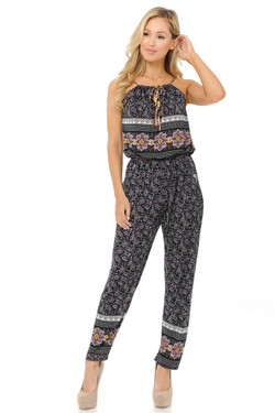 Fashion Casual Purple Paisley Summer Jumpsuit