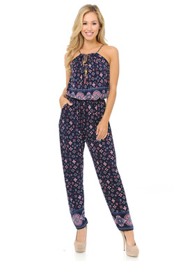 Fashion Casual Magenta Motif Summer Jumpsuit