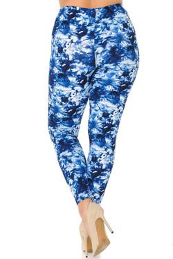 Buttery Soft Summer Blue Tie Dye Plus Size Leggings