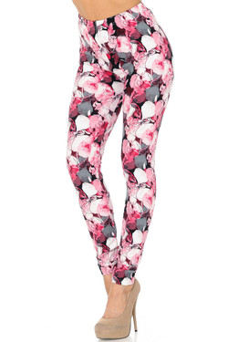 Buttery Soft Lavish Raspberry Rose Leggings