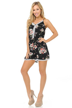 Fashion Casual White Rose Romper