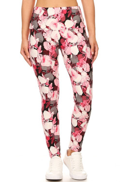 Buttery Soft Lavish Raspberry Rose High Waist Leggings