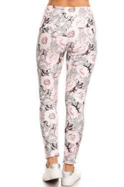 Buttery Soft Dusky Charcoal Floral High Waist Leggings