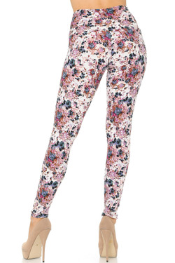 Buttery Soft Black Burgundy Rose High Waist Leggings