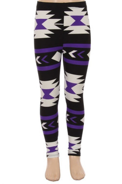 Buttery Soft Purple Azteca Tribal Kids Leggings