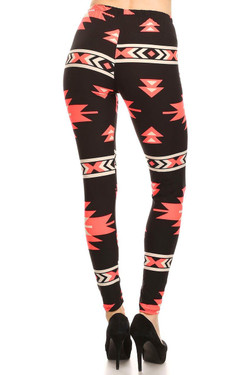 Buttery Soft Coral Azteca Tribal Leggings