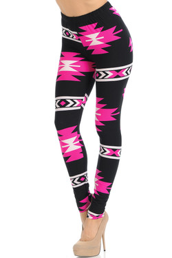 Buttery Soft Fuchsia Aztec Tribal Leggings