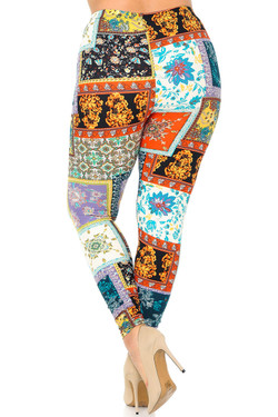 Buttery Soft Quilted Brocade Plus Size Leggings