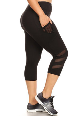 Side Mesh Women's Workout Plus Size Capris