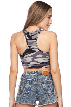 Buttery Soft Charcoal Camouflage Women's Bra Top Back