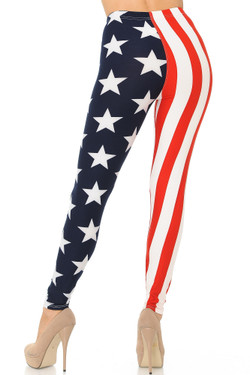 Buttery Soft USA Split Flag Plus Size Leggings