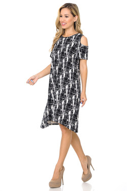Buttery Soft Cold Shoulder Splattered Lines Shift Dress