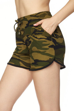 Buttery Soft Green Camouflage Dolphin Shorts