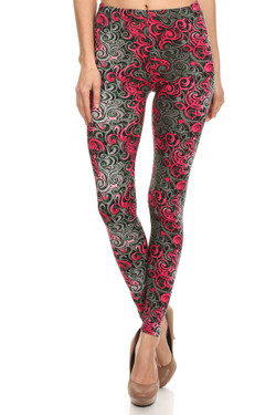 Front image of Buttery Soft Fuchsia Tangled Swirl Leggings
