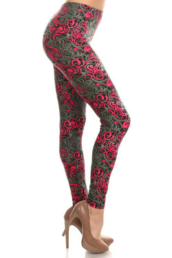 Side Image of Buttery Soft Fuchsia Tangled Swirl Leggings