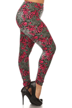 Side Image of Buttery Soft Plus Size Fuchsia Tangled Swirl Leggings
