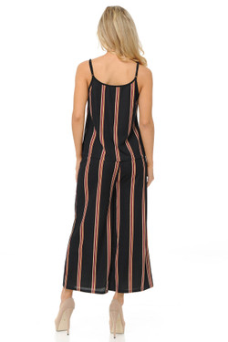 Burgundy Stripes Summer Palazzo Capri and Spaghetti Tank Top Set